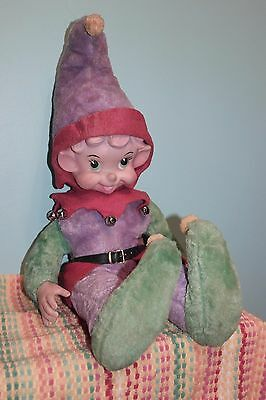 VINTAGE LARGE CHRISTMAS DECOR STUFFED Shelf ELF PIXIE DOLL RUSHTON Rubber FACE