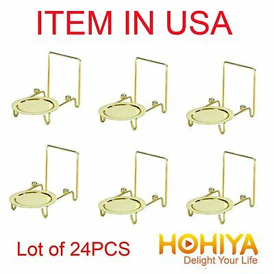 Lot of 24pcs Tea Cup and Saucer Stand Display Brass Etched Base