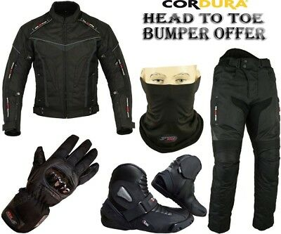 Black Hawk Mens Ce Armour Motorbike Motorcycle Jacket Trousers Boots Gloves Suit
