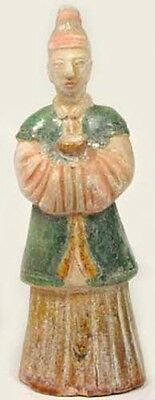 14thC Antique Ming China Glazed Multi-Color Sancai Votive Lady Server Statuette