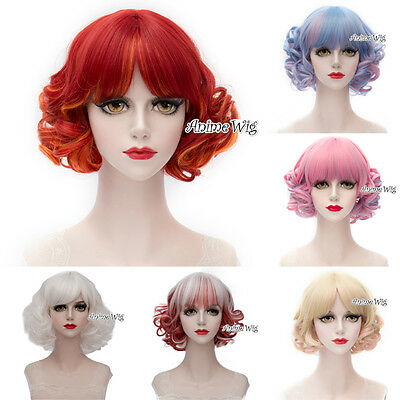 Fashion 6 Colors Short 30CM Curly Harajuku Lolita Lady Cosplay Wig + Wig Cap