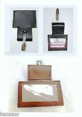 LEATHER  ID BADGE HOLDER / PASS-TAXI-BUS-COACH -OFFICE / 4.5cm BELT LOOP + CLIP