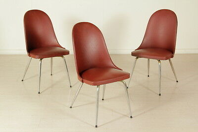 Three Chairs Foam Leatherette Chromed Metal Vintage Manufactured in Italy 1950s