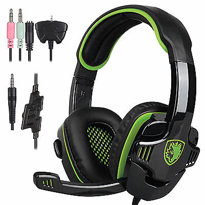 Sades 3.5mm Pro Gaming Green Headset Headphone w/ mic for iphone PC PS4 XBOX 360