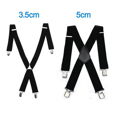 35mm / 50mm WIDE Durable Trouser Heavy Duty MEN BRACES BLACK SUSPENDER ELASTIC
