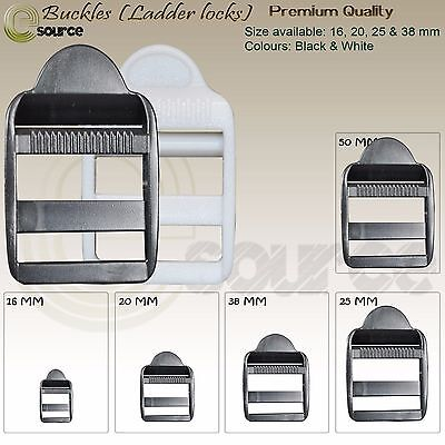 Ladder Locks Buckles Plastic For 16 20 25 & 38 Mm Straps Webbing Adjuster Buckle