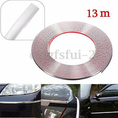 13m x 8mm Car Styling Moulding Trim Strip Door Edge Cover Protector Decor Chrome