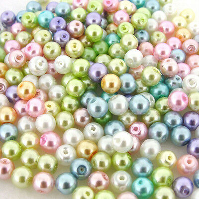 Mixed Pastel Colours Glass Pearl Round Beads Jewelry Finding DIY 4/6/8/10/12mm