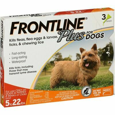 3-Pack Frontline Plus For Dogs Up To 22 lbs Genuine