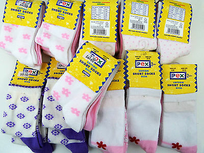 Bundle 28 Pairs Pex Girls Cotton Socks Pink Purple Bows Size 6-8.5 Age 2-3 Years