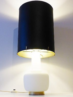 Chic & Important Lamp Ornamental Opaline & Lampshade Giant Stainless Steel 70's