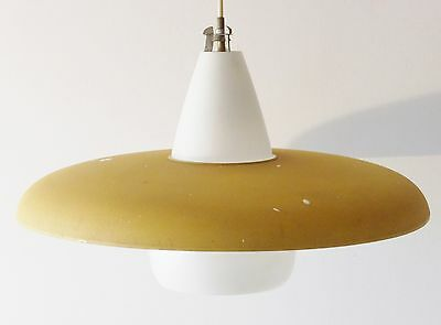Philips: Large Chandelier Saucer Yellow 1950 Vintage 50s Rockabilly Light
