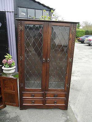 Premium Solid Oak Display Cabinet With Glass Doors And Sides