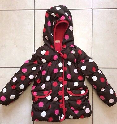 MINI MODE Girls Brown Spotty Anorak Age 2-3 Years Zip Winter Coat Hooded Padded