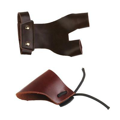 Leather Archery Hunting Shooting Thumb Finger Protector Guard + Finger Glove