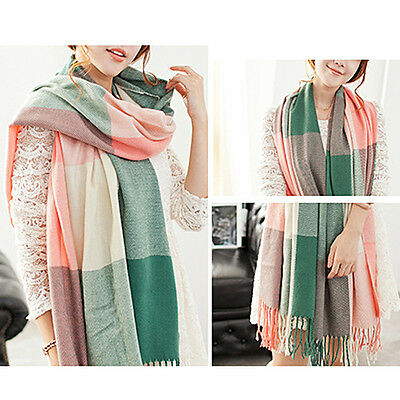 Fashion Women Ladies Warm Grid Pashmina Shawl Wrap Soft Long Tassel Scarf