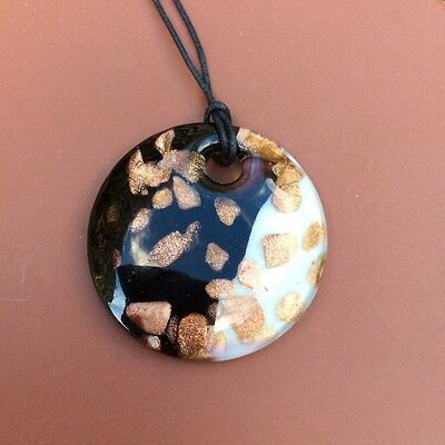Black white large Murano glass necklace on cord. Venetian Italian pendant
