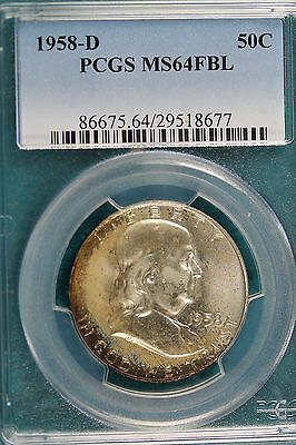 1958-D PCGS MS 64 FULL BELL LINES Franklin Half Dollar!! #A0086