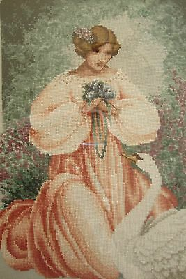 """Framed  beaded  Completed Cross Stitch. Romantic lady with swan. 18"""" x 24"""" aprox"""