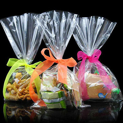 100 Pcs 12*25cm Clear Food Grade Plastic Cellophane Cello Bags Candy Gifts Bags