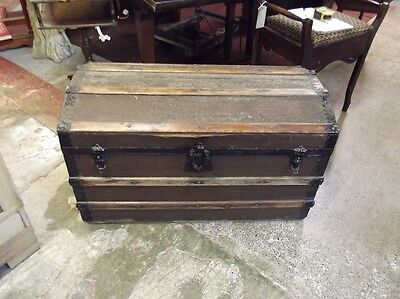 OLD DOME TOP TRUNK Blanket Box VINTAGE TRAVEL CHEST Domed Storage Chest