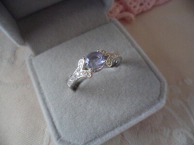 Antique Vintage Sterling Silver Ring size 10 or U with Amethyst and Sapphires