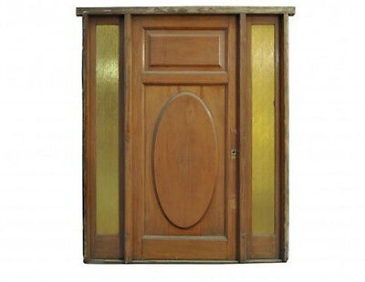 Antique Single Solid Door w/ Stained Glass Sidelights #D1048