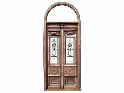 Antique Double Front Door w/ Arched Transom #B1195