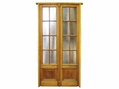 Antique Double Wooden Patio Door Textured Glass #C1455