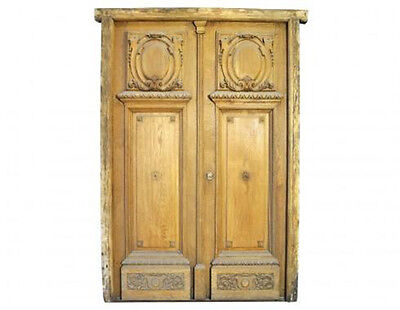 Antique Double Solid Oak Door Hand Carved #C1442