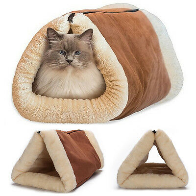 2 In 1 Pet Tunnel Bed Mat Cat Cushion Puppy Pad Self Heating Sofa Winter Warm