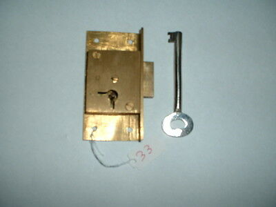"Old brass Lock & key4 lever Unused Old Stock 3"" x 1  5/8"" x 1/2"" R/HAND FIXING"