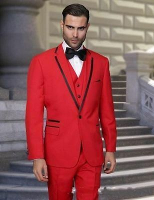Popular Red Wedding Groom Tuxedo Best Man Suit Formal Men Dinner Party Prom Suit