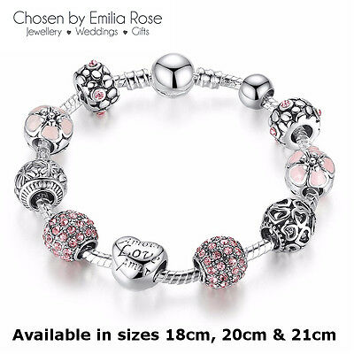 925 Silver Crystal Charm Bracelet Rhinestone Charms Beads Bangle Jewelry Gift