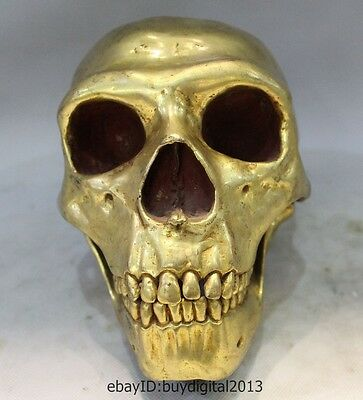 "9"" Chinese Tibetan Buddhism Bronze 24K Gold Human Skull Head Statue Sculpture"