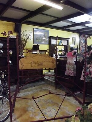 Rustic Four Poster Bed, Stunning Handmade metal Bed Frame,one off hand made