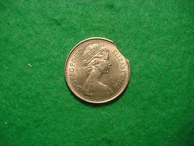 1970 five pence 5p RARE mint error clipped planchet a/BU see pics