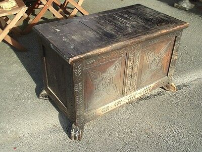 antique CARVED OAK BLANKET BOX/COFFER