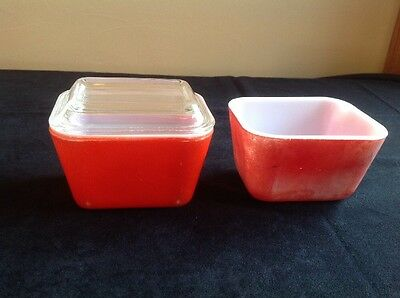 Vintage Pyrex Red #501 Refrigerator Dishes; One with 501-C Cover