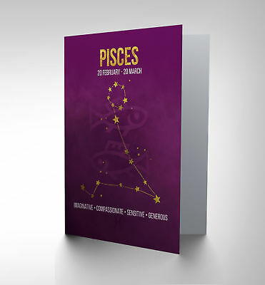 Birthday Card - Zodiac Star Sign Astrology Pisces  Cp3167
