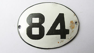 Old Vintage Antique Enamel Porcelain Sign House Number 84