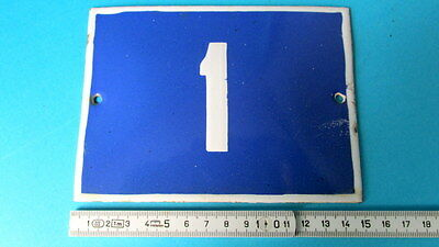 Vintage Door House Blue Porcelain Enamel Number 1 Tin Sign Plate
