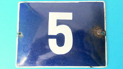 Vintage Enamel Porcelain Sign House Door Number 5 Classical Cobalt Blue