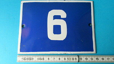 Vintage Door House Blue Porcelain Enamel Number 6 Tin Sign Plate