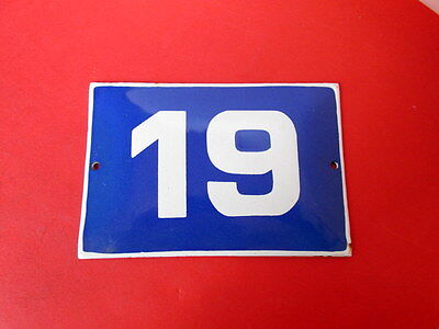 Vintage Door House Blue Porcelain Enamel Number  19 Tin Sign Plate