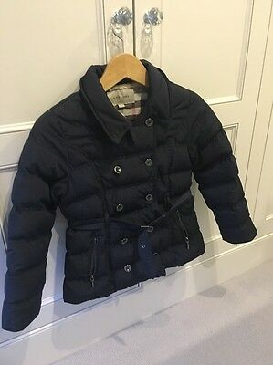 Burberry Navy Blue Thick Down Double Breasted Coat Age10