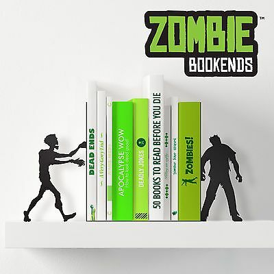 Zombie Bookends- Black Metal Pair of Bookends Shaped like Zombies Novelty Gift