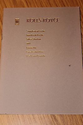 Rolls Royce Silver Shadow & Corniche Handbook Supplement For USA & Canadian Cars