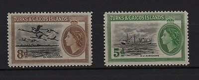 U96) x2 TIMBRES stamps (Neuf**MNH TBE) TURKS & CAICOS ISLANDS 1955 Queen
