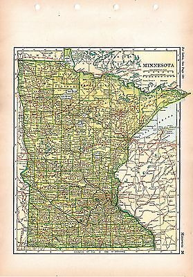 1928 ORIGINAL MAP of MINNESOTA Winston Atlas Poates